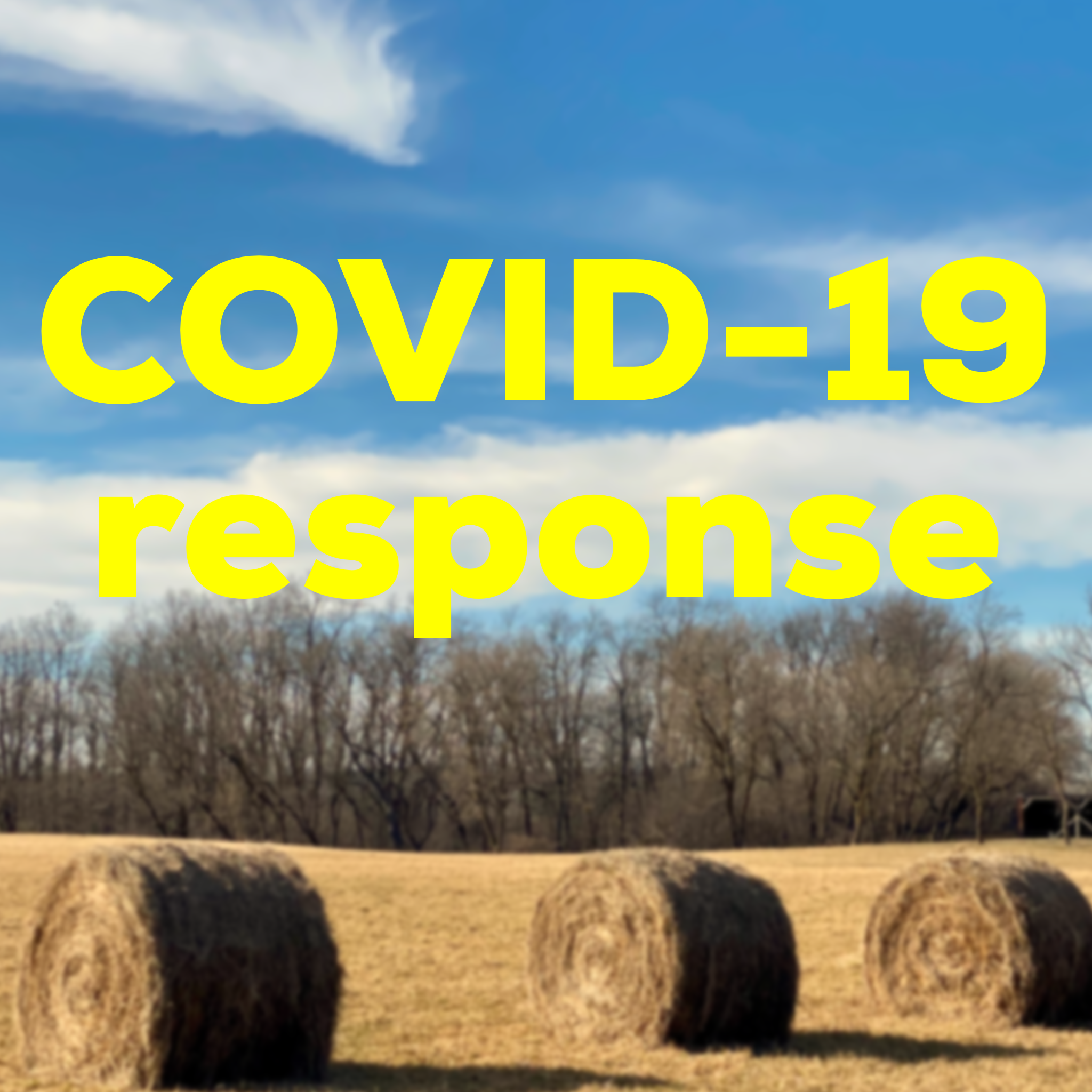 Image of hay bales on ground with text Covid-19 Response.